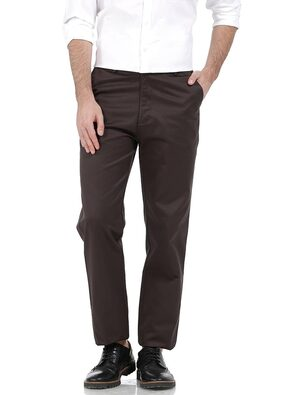 Basics Comfort Fit Mid Brown Satin Weave Poly Cotton Trousers