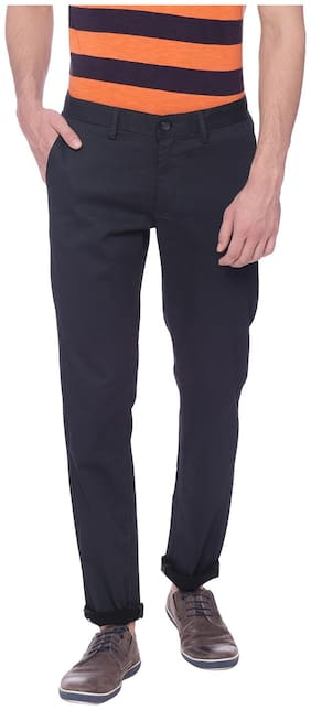 BASICS Cotton Blend Printed Chinos Casual Trouser Black color