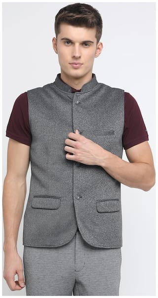 BASICS Men Grey Solid Slim Fit Ethnic Jacket