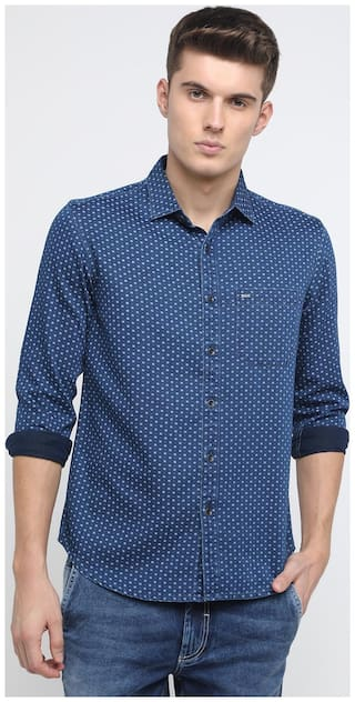 BASICS Men Blue Printed Slim Fit Casual Shirt