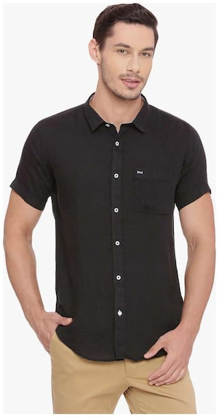 BASICS Men Black Solid Slim Fit Casual Shirt