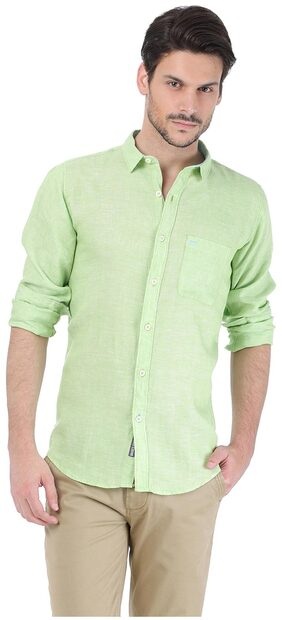 Basics Green Linen Slim Fit Casual Shirt