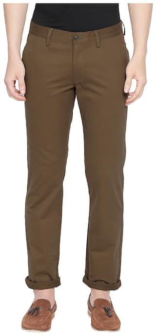 BASICS Men Brown Solid Tapered fit Chinos