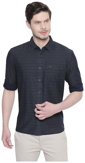 Men Slim Fit Pinstrips Casual Shirt