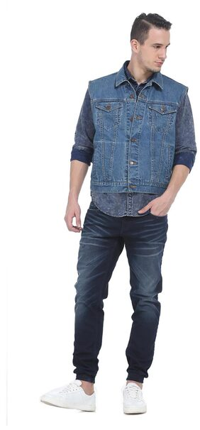 BASICS Men Cotton Slim Jacket - Blue