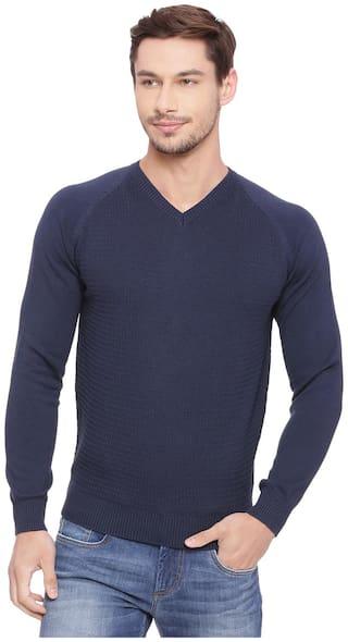 Basics Muscle Fit Dress Navy V Neck Sweater