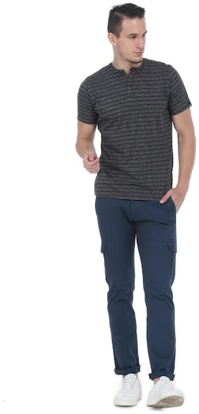 Basics navy tapered fit mid low rise hbone cargo pants