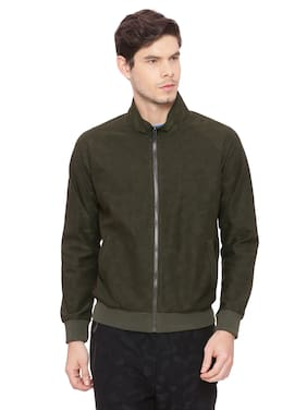 BASICS Polyester Solid Jackets Green color