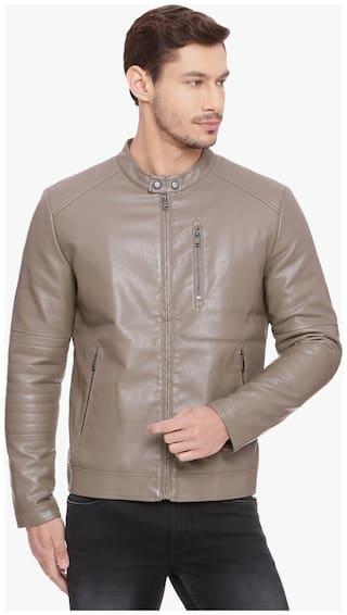 BASICS Men Beige Solid Regular Fit Ethnic Jacket