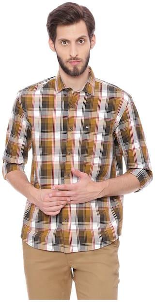 BASICS Men Brown Checked Slim Fit Casual Shirt