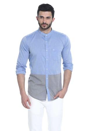 BASICS Men Blue Printed Regular Fit Casual Shirt