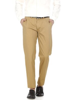 Basics Slim Fit Coffee Dobby Weave Ribbed Trousers