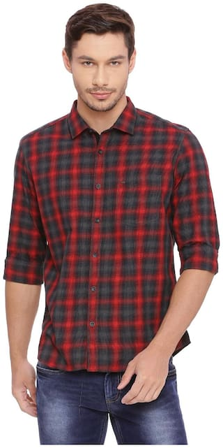 BASICS Men Red Checked Slim Fit Casual Shirt