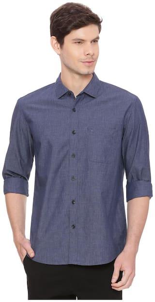 BASICS Men Blue Solid Slim Fit Casual Shirt