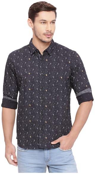 BASICS Men Black Printed Slim Fit Casual Shirt