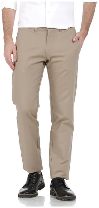 BASICS Men Beige Solid Tapered fit Chinos