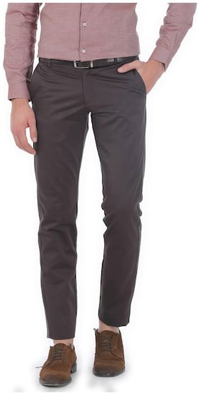 Basics Tapered Fit Mid Brown Satin Trousers