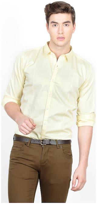 BASICS Men Yellow Solid Slim Fit Casual Shirt