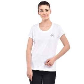BAZARVILLE Women White Regular fit Round neck Cotton T shirt