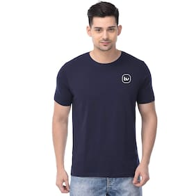 BAZARVILLE Men Navy blue Regular fit Cotton Round neck T-Shirt - Pack Of 1