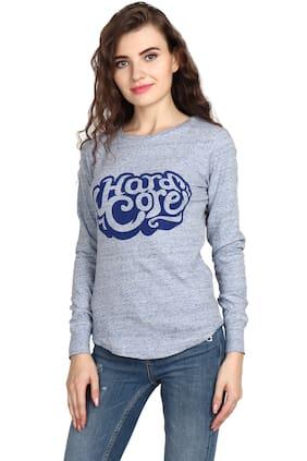 BAZOO'M Women Grey Slim fit Round neck Cotton T shirt
