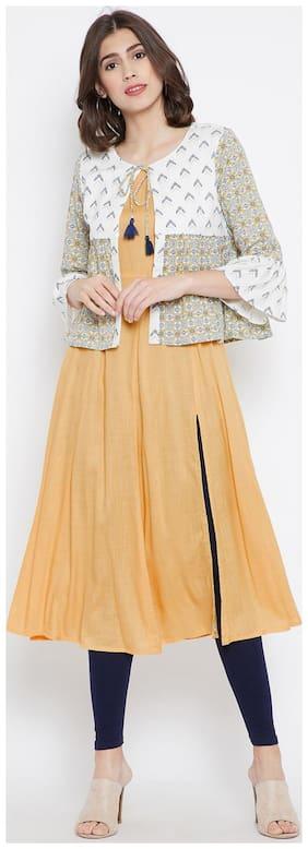 BE INDI Women Cotton Printed Straight Kurti - Beige