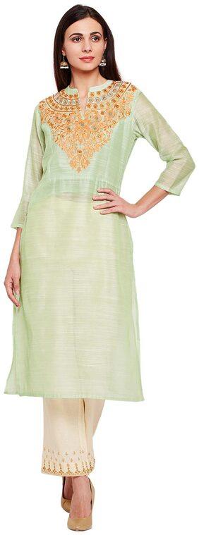 BE INDI Women Cotton Solid Straight Kurti - Green