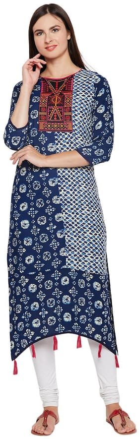 BE INDI Women Cotton Printed A line Kurti - Blue