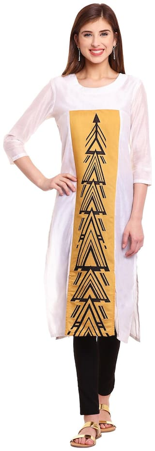 BE INDI Women Chanderi Printed Straight Kurti - Beige