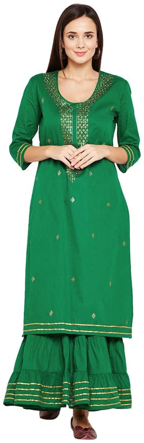 BE INDI Cotton Solid Flared Dress Green