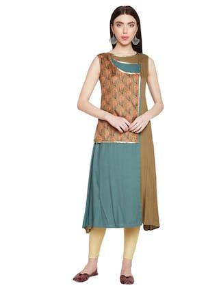 BE INDI Women Cotton Solid A line Kurti - Multi