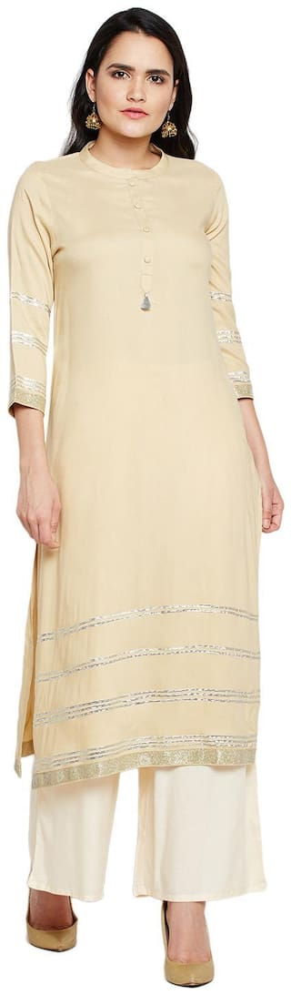 BE INDI Women Cotton Solid Straight Kurti - Beige