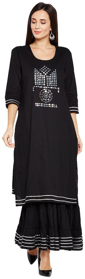BE INDI Cotton Solid Flared Dress Black