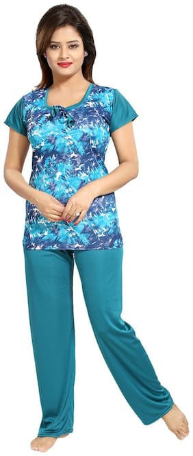 Be You Blue Graphic Printed Women Night Suit