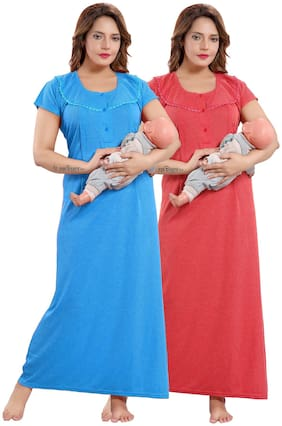 Be You Women Maternity Dress - Blue & Red Free size
