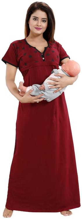 Be You Women Maternity Gown - Maroon Free size