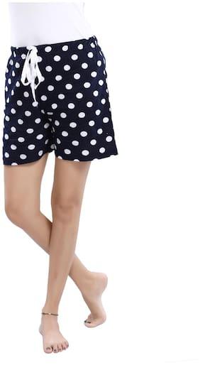 Be You Women Cotton Polka Dots Shorts - Blue