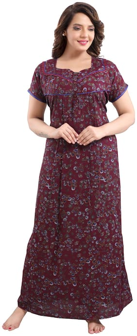 Be You Maroon Night Gown
