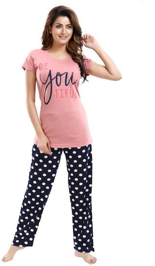 Be You Women Cotton Polka Dots Top and Pyjama Set - Peach & Blue