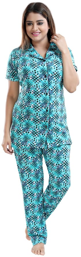 Be You Women Cotton Printed Top and Pyjama Set - Turquoise