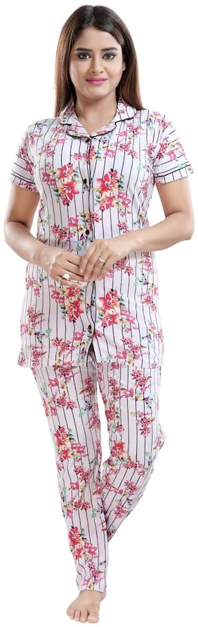 Floral Top and Pyjama Set ,Pack Of 2
