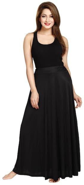 Be You Fashion Women Serena Satin Black Plain Long Skirt