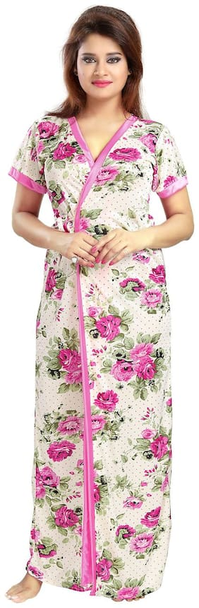 Be You Fashion Serena Satin Pink Floral Printed Nightgown for Women