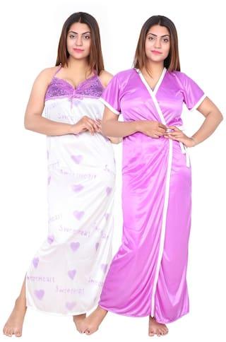2e279de1cfc Buy Be You Fashion Women Satin Purple Plain 2 piece Nighty Set ...