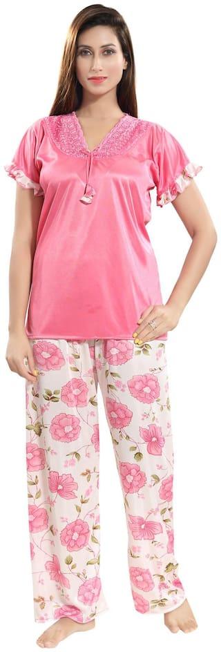 Be You Women Satin Floral Top and Pyjama Set - Pink