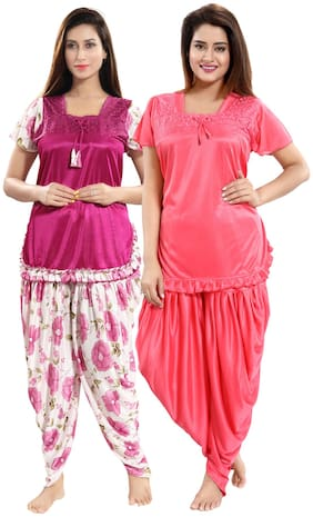 Floral Top and Pyjama Set ,Pack Of 4