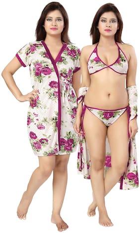 Be You Magenta Floral Women Robe & Lingerie Set_1 Robe;1 Bra & 1 Panty (Magenta)