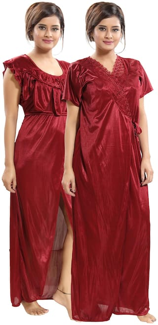 Be You Maroon Nighty with Robe