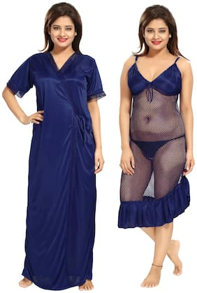 Be You Blue Wrap Gown & Nighty with Robe