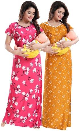 Be You Women Maternity Dress - Pink & Yellow Free size